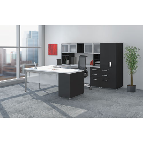 e5 Series Executive U-Workstation, 72w x 96d x 62h, Summer Suede/Cocoa