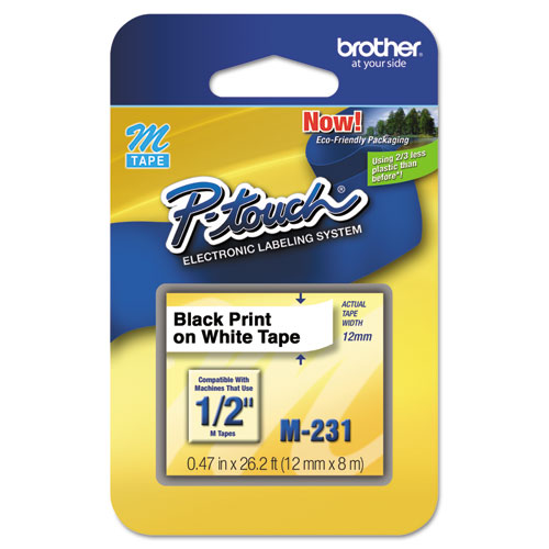 M Series Tape Cartridge for P-Touch Labelers, 0.47 x 26.2 ft, Black on White