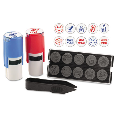 "Stamp-Ever Stamp, Self-Inking with 10 Dies, 5/8"", Blue/Red 
