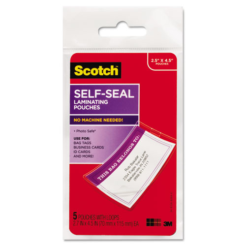 "Self-Sealing Laminating Pouches, 12.5 mil, 2.81"" x 4.5"", Gloss Clear, 5/Pack 