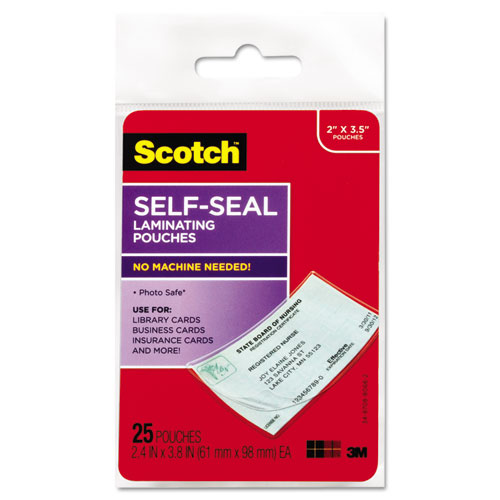 "Self-Sealing Laminating Pouches, 9.5 mil, 3.88"" x 2.44"", Gloss Clear, 25/Pack 