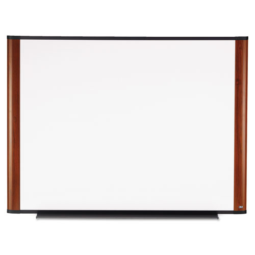 Melamine Dry Erase Board, 48 x 36, Mahogany Frame | by Plexsupply