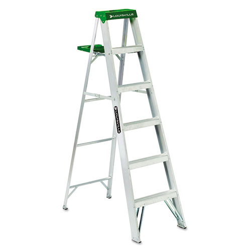 Louisville® #428 Folding Aluminum Step Ladder, 6 ft, 5-Step, Green