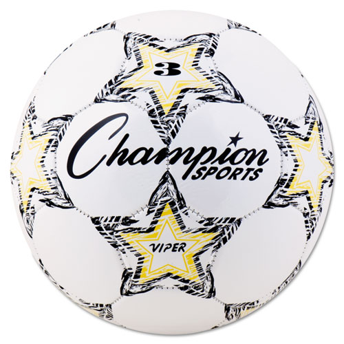 "VIPER Soccer Ball, Size 3, 7 1/4""- 7 1/2"" dia., White | by Plexsupply"