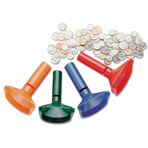 Color-Coded Coin Counting Tubes f/Pennies Through Quarters | by Plexsupply