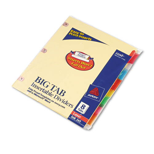 avery big tab inserts for dividers 8 tab template - ave23284 avery insertable big tab dividers zuma