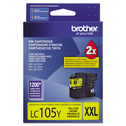 Brother LC105Y Innobella Super High-Yield Ink, 1,200 Page-Yield, Yellow