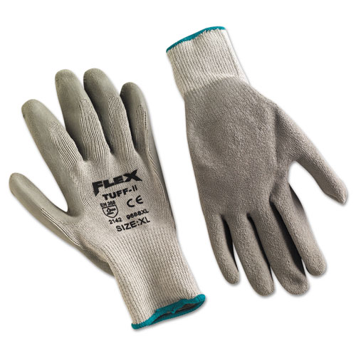 FlexTuff Latex Dipped Gloves, Gray, X-Large, 12 Pairs