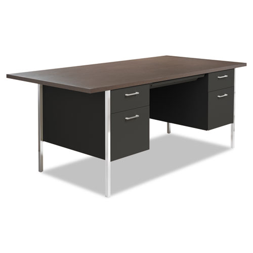Double Pedestal Steel Desk, 72 x 36 x 29.5, Mocha/Black