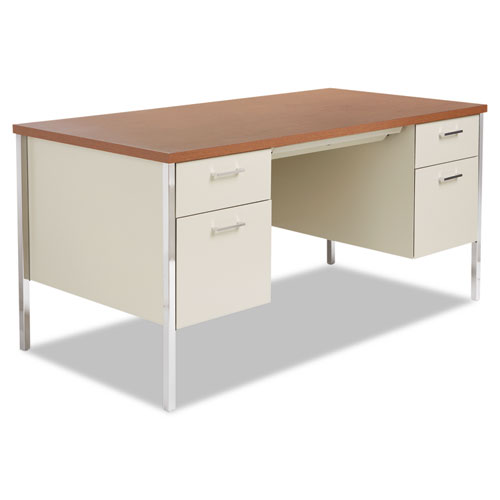 Double Pedestal Steel Desk, 60 x 30 x 29.5, Cherry/Putty