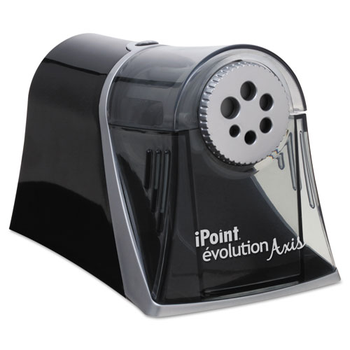iPoint Evolution Axis Pencil Sharpener, AC-Powered, 5 x 7.5 x 7.25, Black/Silver