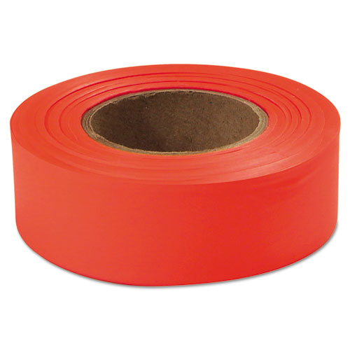 "Flagging Tape, Glo-Orange, 1"" x 200ft, Plastic 