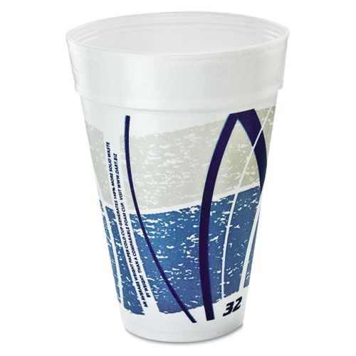 Impulse Hot/Cold Foam Drinking Cups, 32oz., Printed, Blue/Gray, 25/Bag, 20/CT 32TJ32E