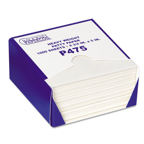 P475 DryWax Patty Paper Sheets, 4 3/4 x 5, White, 1000/Box, 24 Boxes/Carton