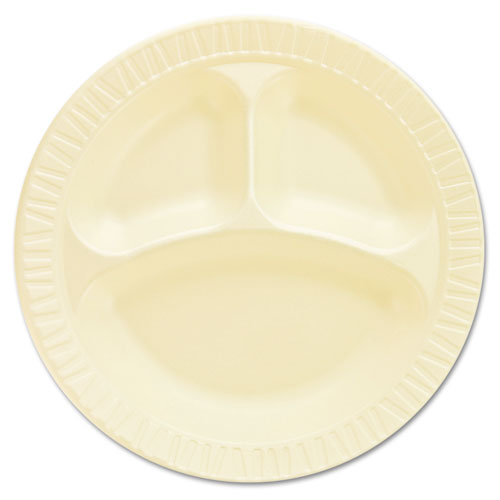 Laminated Foam Dinnerware, Plates, 10 1/4, Honey, 3 Comp, 125/Pk, 4 Pks/Ctn