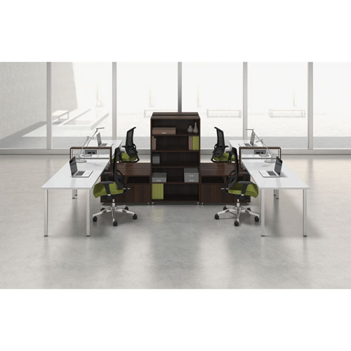 Mayline® e5 Two-Person Workstation with Beltway, 123-1/2w x 73d x 29-1/2h, White/Walnut