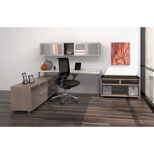 e5 Series Single L-Workstation, 72w x 85d x 29.5h, Summer Suede/Cocoa