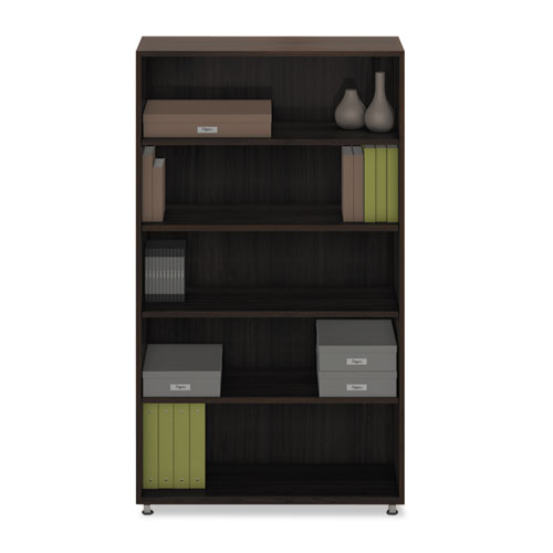 e5 Series Five-Shelf Bookcase, 36w x 15d x 62h, Walnut