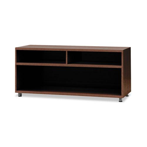 e5 Series Open Storage Cabinet, 36w x 18d x 23h, Walnut