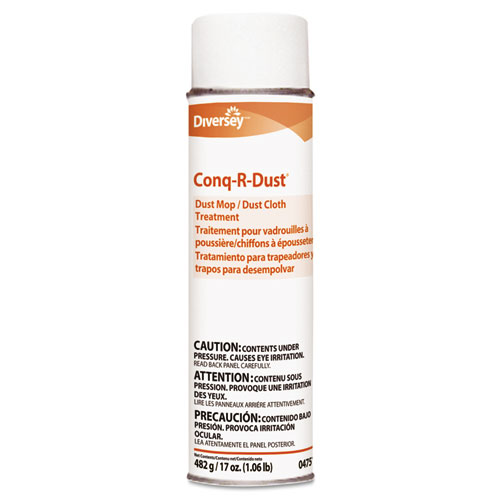 Diversey™ Conq-r-Dust Dust Mop/Dust Cloth Treatment, Amine Scent, 17oz Aerosol, 12/Carton