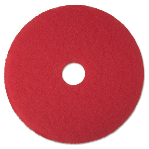 "Low-Speed Buffer Floor Pads 5100, 13"" Diameter, Red, 5/Carton | by Plexsupply"