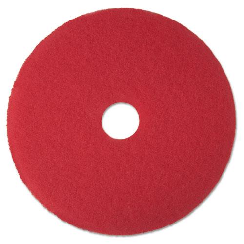 Low-Speed Buffer Floor Pads 5100, 19 Diameter, Red, 5/Carton