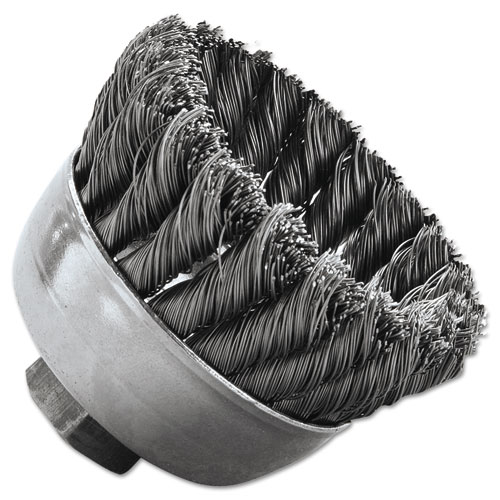 SRA-2 General-Duty Knot Wire Cup Brush, .014, 5/8-112, 3/4in. dia 13025