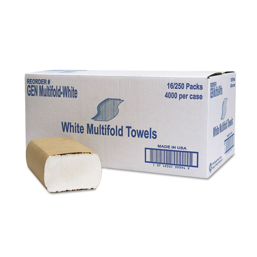 Multifold Towel, 1-Ply, White, 250/Pack, 16 Packs/Carton | by Plexsupply