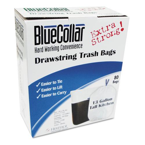 "BlueCollar Drawstring Trash Bags, 13 gal, 0.8 mil, 24"" x 28"", White, 80/Box"