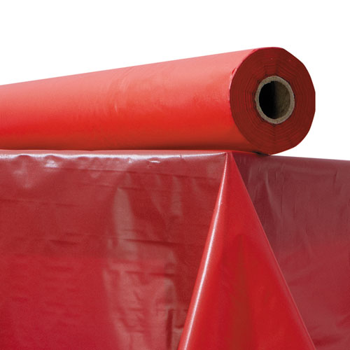 Plastic Table Cover, 40 x 300 ft Roll, Red