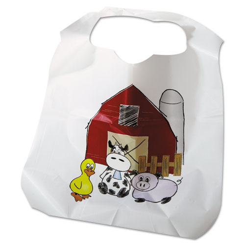 Disposable Child-Size Poly Bibs, Zoo/Farm Pattern, Childrens, 250/Carton