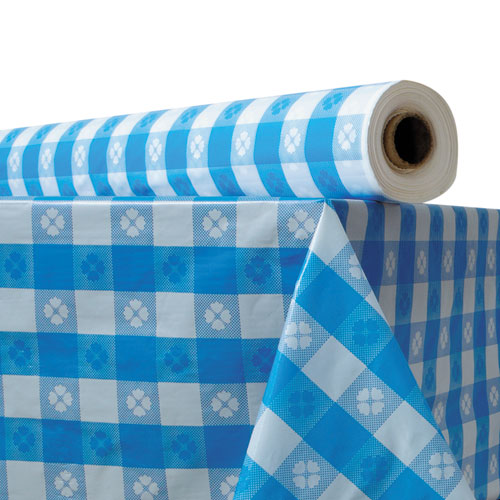 Plastic Table Cover, 40 x 300 ft Roll, Blue Gingham