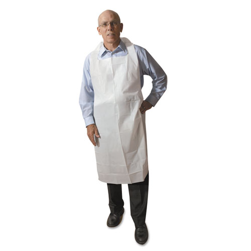 Atlantis Plastics Disposable Medium-Weight Soft Embossed Poly Aprons, White, 28 x 46, 500/CT