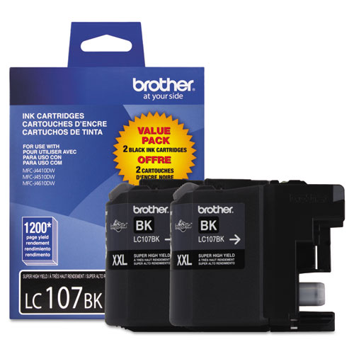 Brother LC1072PKS Innobella Super High-Yield Ink, 1200 Page-Yield, Black, 2/PK