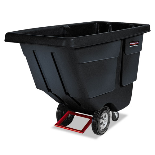 Rotomolded Tilt Truck, Rectangular, Plastic, 850 lb Capacity, Black