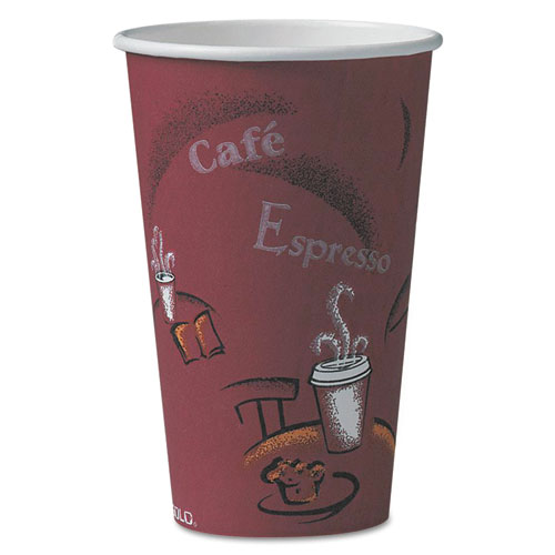 Solo Bistro Design Hot Drink Cups, Paper, 16oz, Maroon, 1000/Carton | by Plexsupply