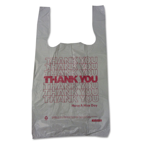 "Barnes Paper Company Thank You High-Density Shopping Bags, 10"" x 19"", White, 2,000/Carton"