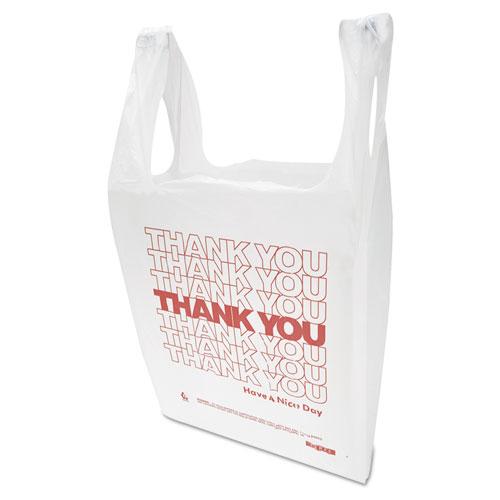 """Thank You"" Handled T-Shirt Bag, 0.167 bbl, 12.5 microns, 11.5"" x 21"", White, 900/Carton"