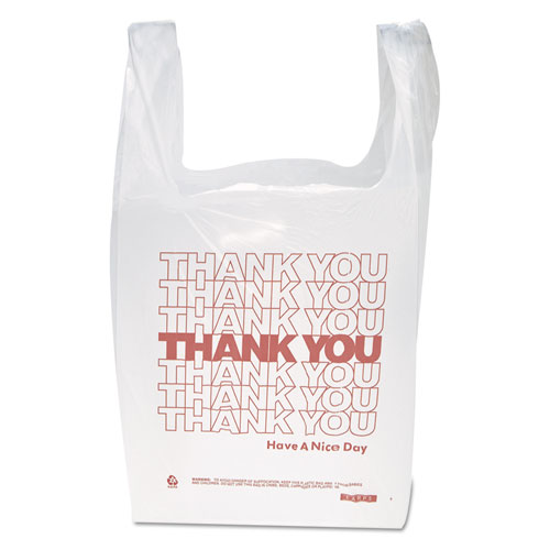 "Inteplast Group ""Thank You"" Handled T-Shirt Bags, 11 1/2 x 21, Polyethylene, White, 900/Carton"