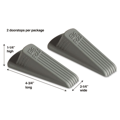 Big Foot Doorstop, No Slip Rubber Wedge, 2.25w x 4.75d x 1.25h, Gray, 2/Pack | by Plexsupply