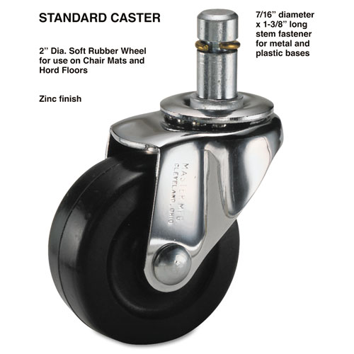 Standard Casters, Soft Rubber, C Stem, 75 lbs./Caster, 4/Set