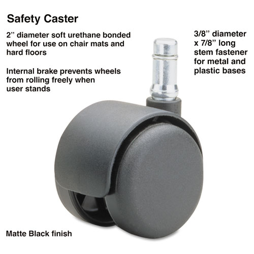 Safety Casters, Standard Neck, Polyurethane, K Stem, 110 lbs/Caster, 5/Set