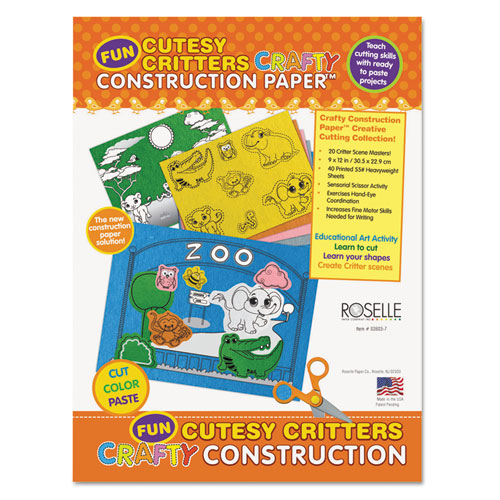 Roselle Crafty Printed Construction Paper, 55 lbs., 9 x 12, Cutesy Critters, 40 Shts/Pad