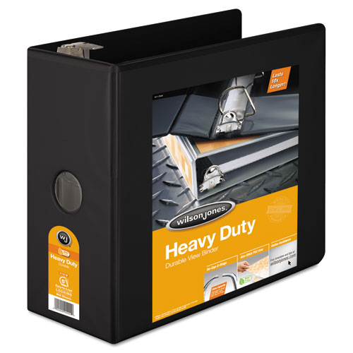 Wilson jones - heavy-duty d-ring vinyl view binder, 5-inch capacity, black, sold as 1 ea