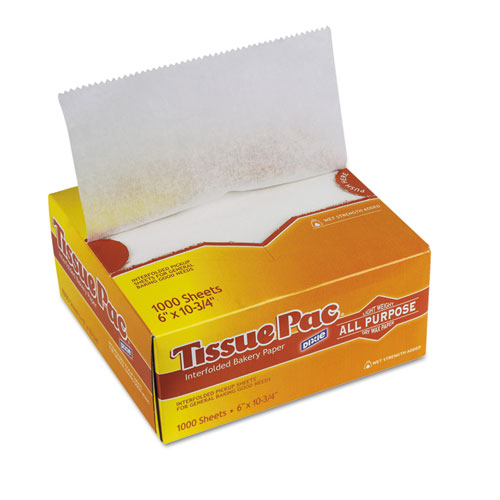 Tissue-Pac Lightweight Dry Waxed Interfolding Tissue, 6x10 3/4, White, 1000/Pack