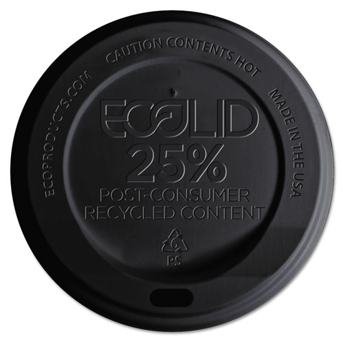 EcoLid 25% Recy Content Hot Cup Lid, Black, F/10-20oz, 100/PK, 10 PK/CT EPHL16BR