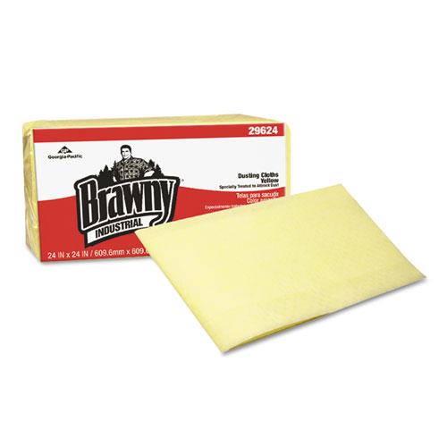 Georgia Pacific® Professional Brawny Industrial Dusting Cloths, Quarterfold, 24x24, Yellow, 50/PK, 4/CT