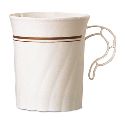 Masterpiece Plastic Mugs, 8 oz., Ivory with Gold Print, 8/Pack, 24 Pack/Carton CWM8192IPREM