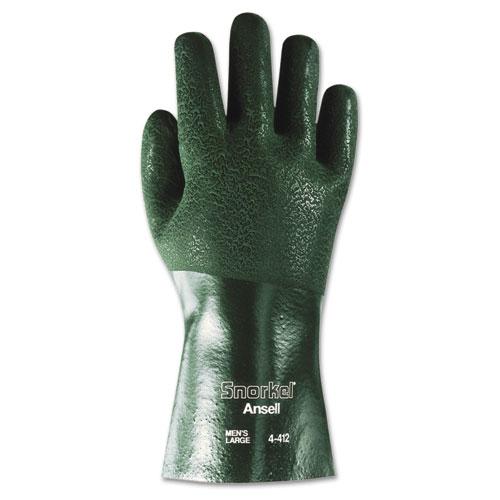 Snorkel Chemical-Resistant Gloves, Size 10, PVC/Nitrile, Green, 12 PR