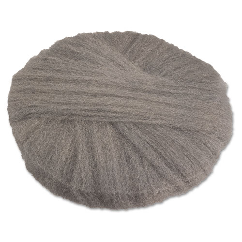 Radial Steel Wool Pads, Grade 2 (Coarse): Stripping/Scrubbing, 20, Gray, 12/CT